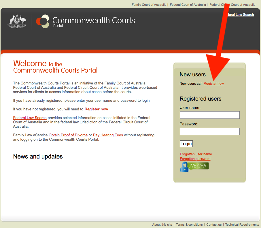 Login screen of commonwealth courts portal
