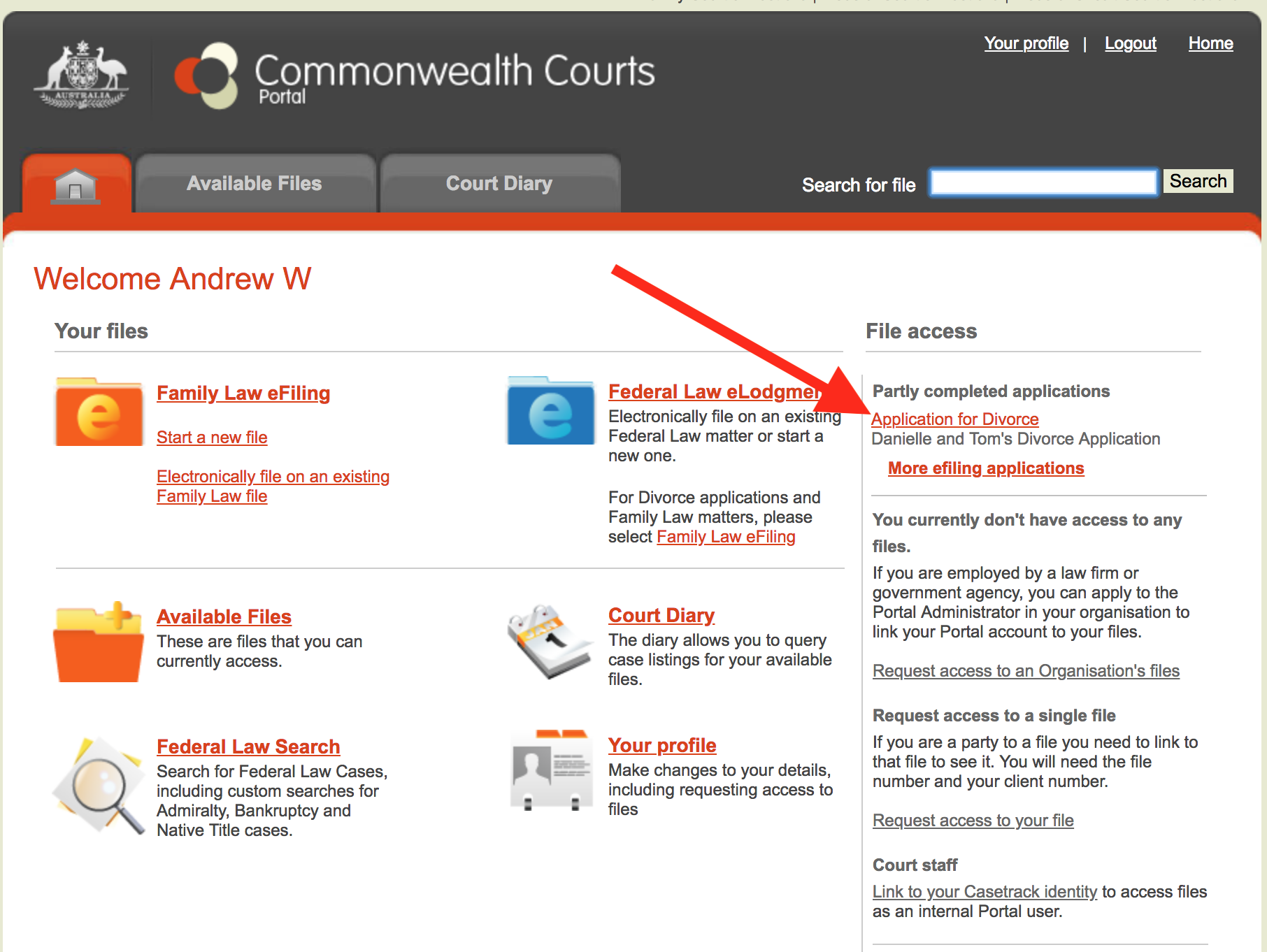 Partly complete application - commonwealth courts portal