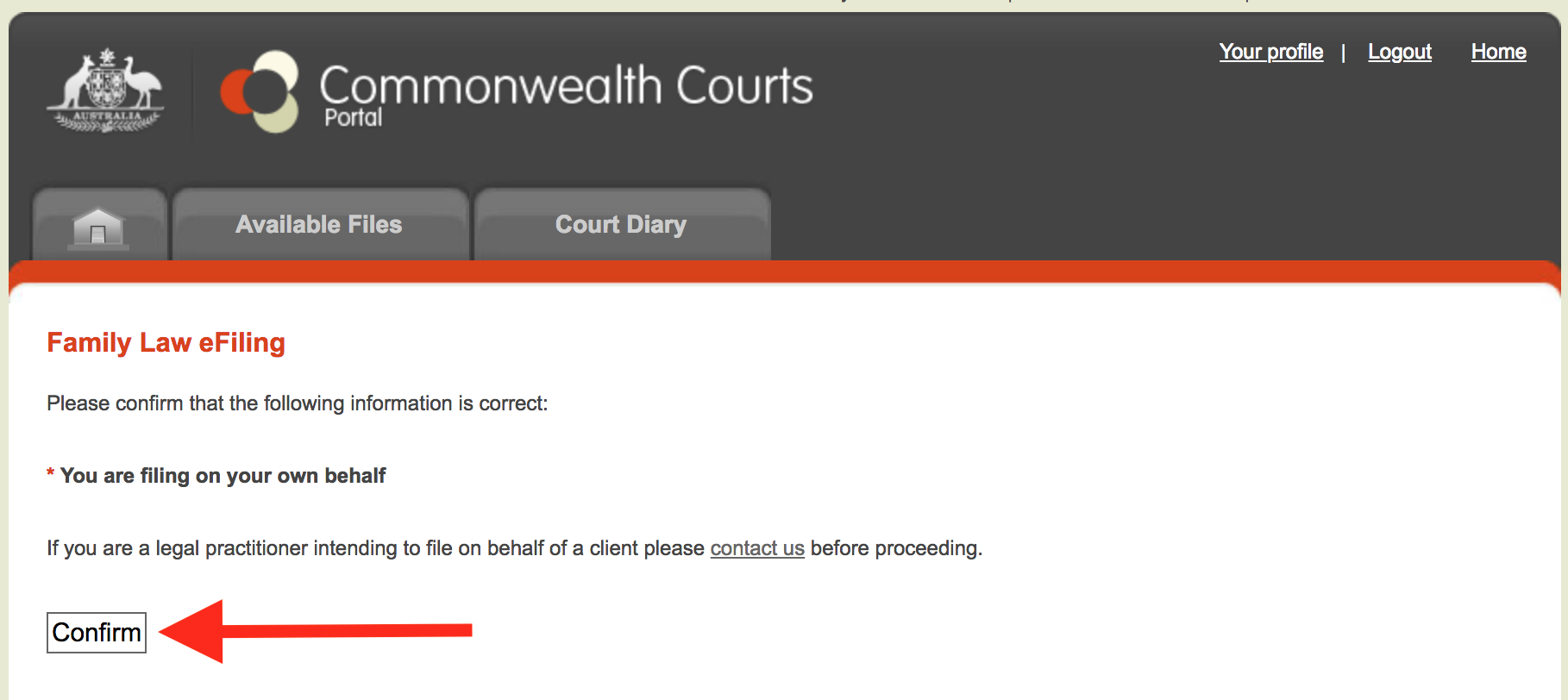 Filing confirmation screen commonwealth courts portal