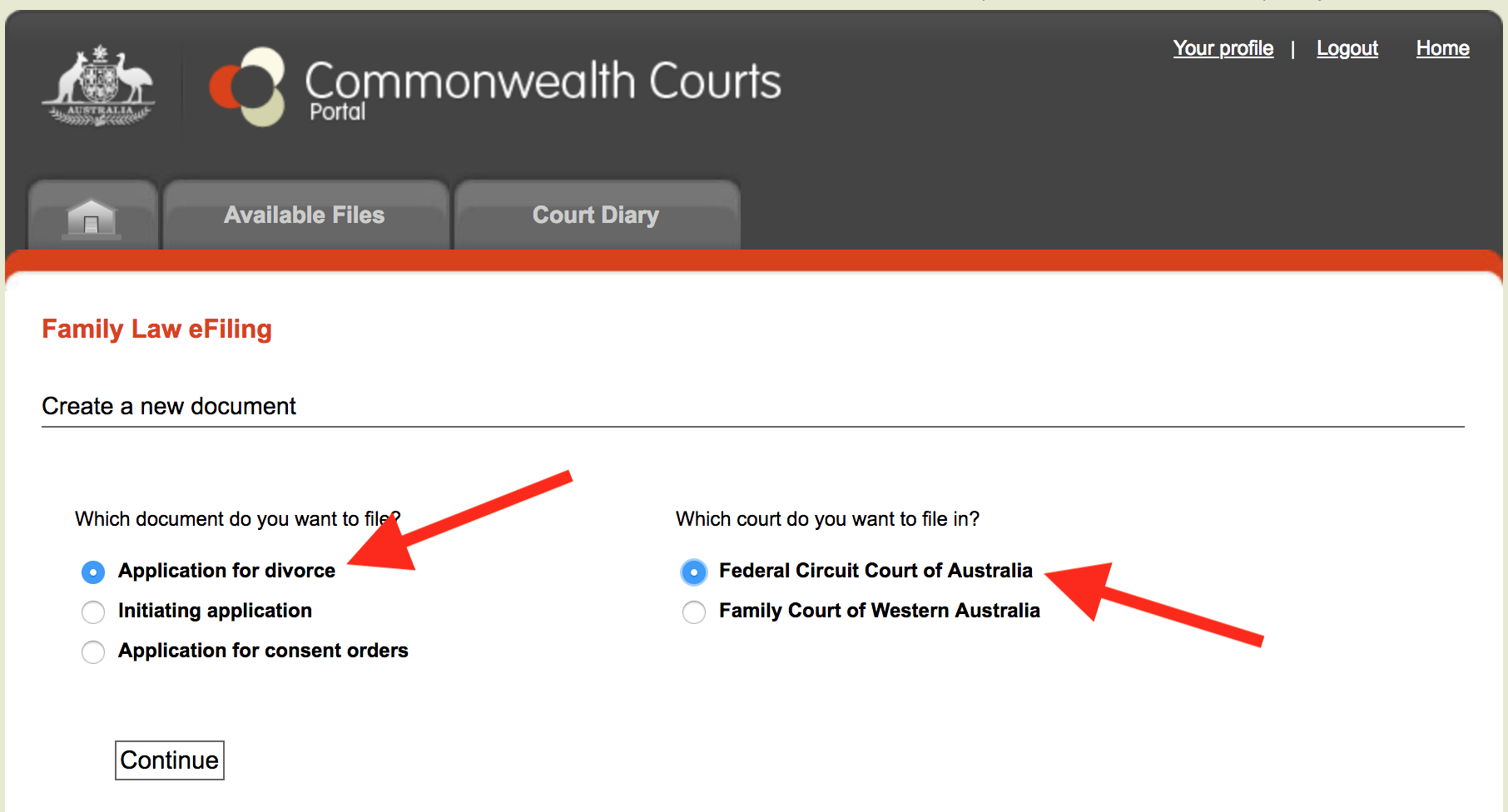 New document commonwealth courts portal