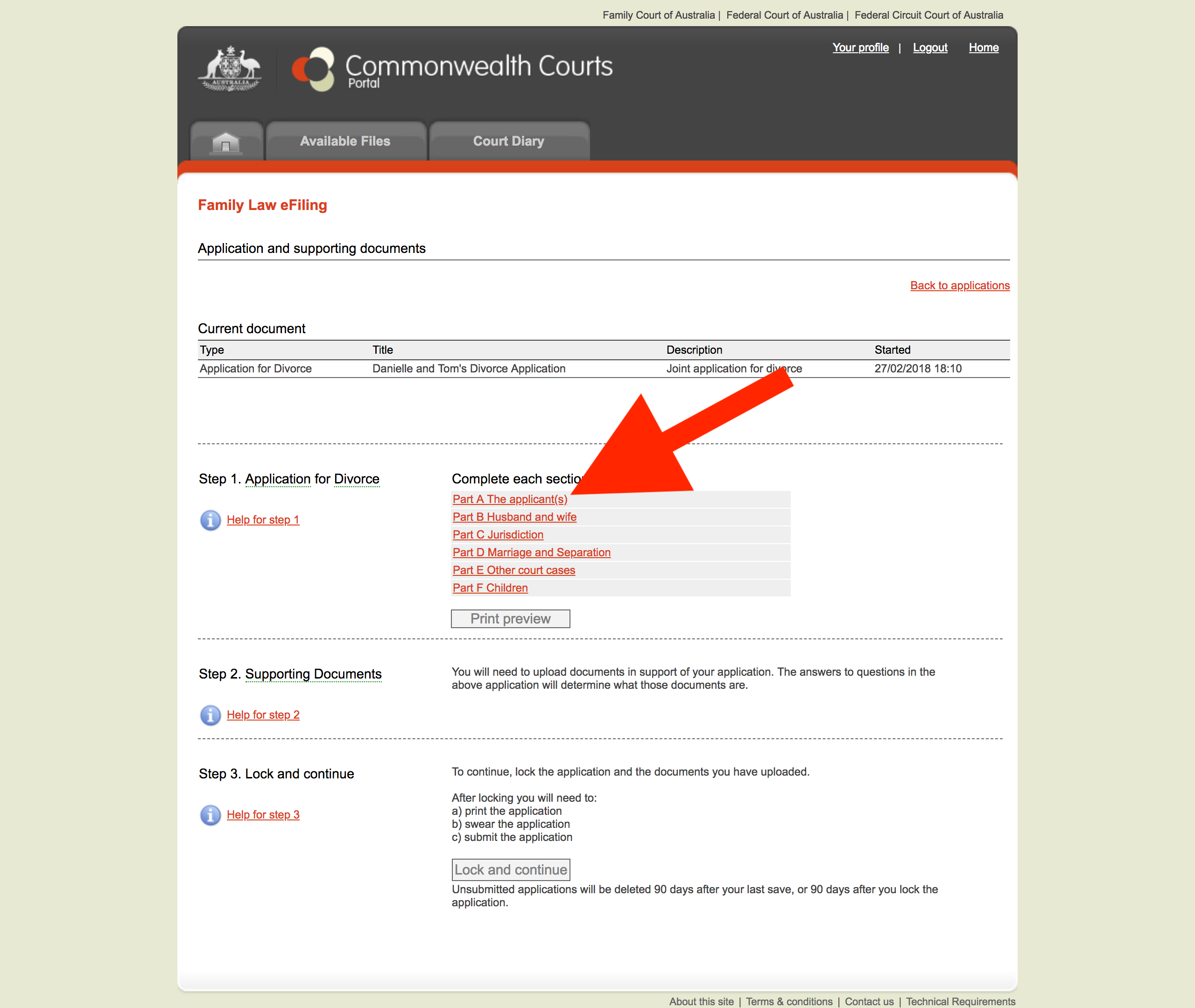 Steps 1-3 commonwealth courts portal