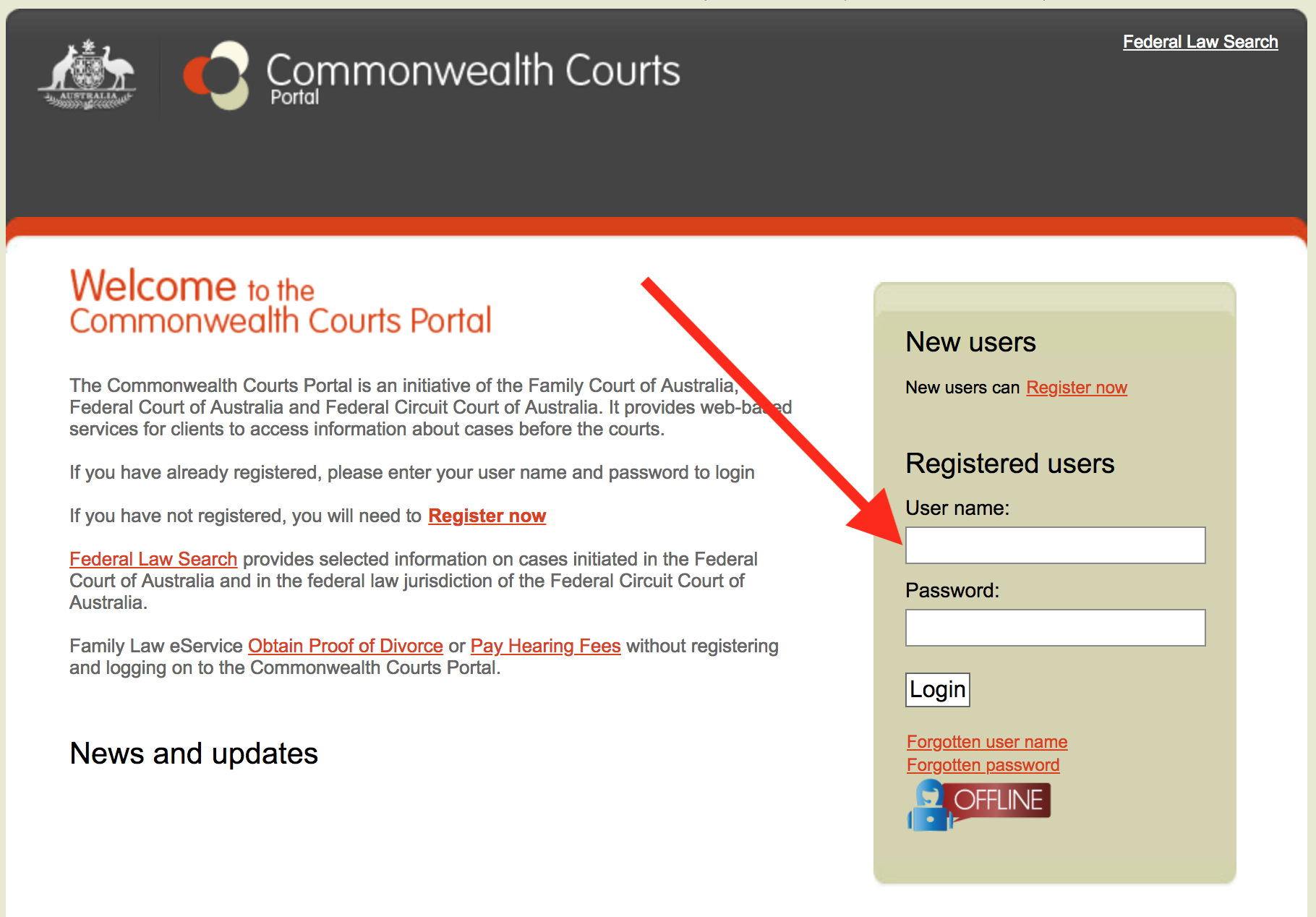 Login screen - commonwealth courts portal