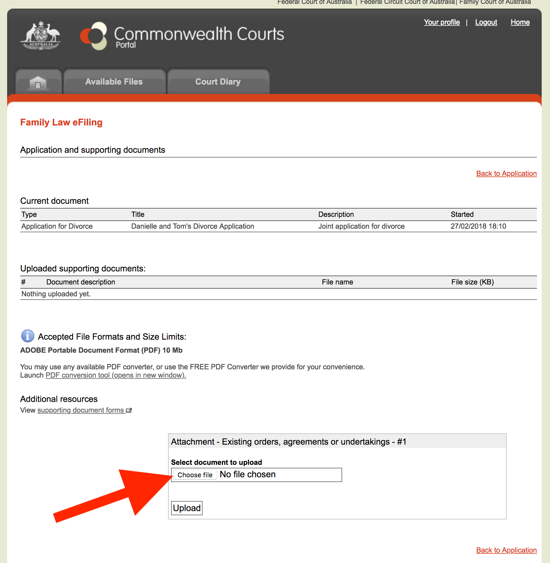 Choose file - commonwealth courts portal