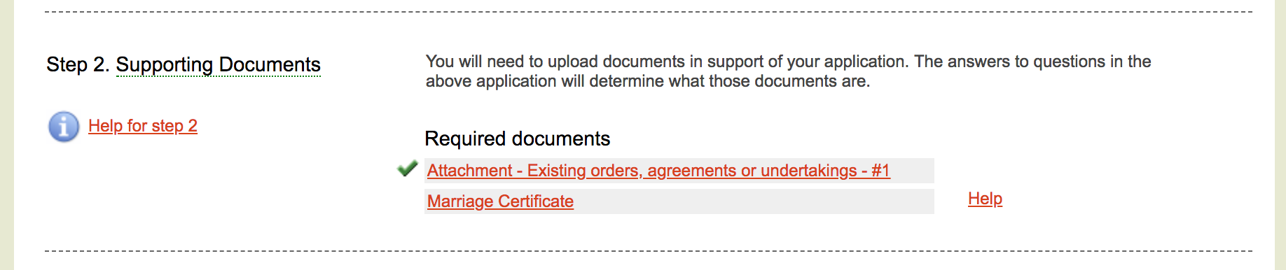 Supporting documents tick