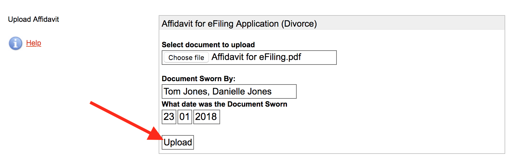 Affidavit upload button - commonwealth courts portal