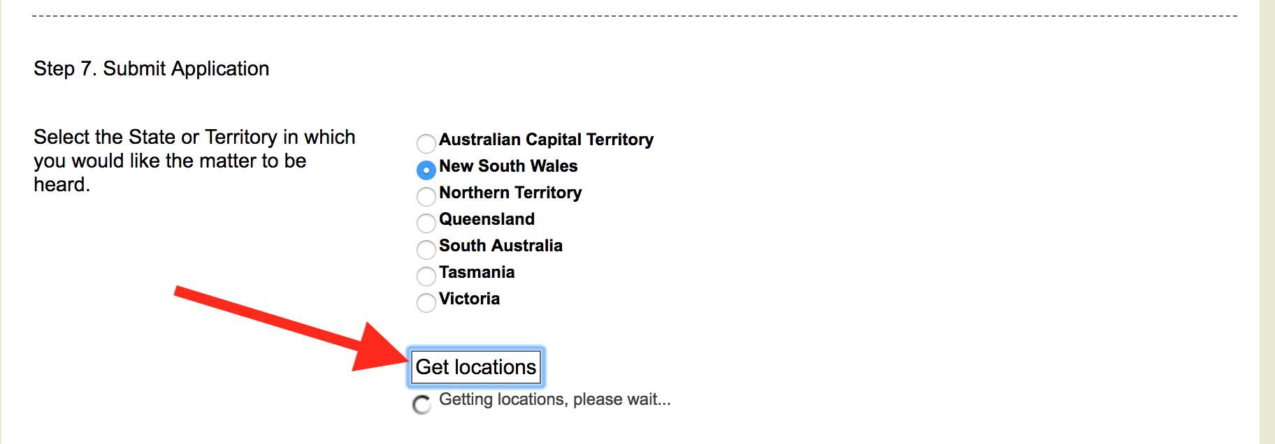Get locations button - commonwealth courts portal
